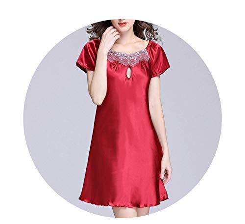 Women Silk Nightgown Printed Fashion Knee-Length Girl Sleepwear,jujube red,L