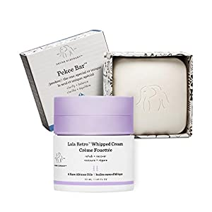 Drunk Elephant Full Sized Clean Break Facial Duo- Skin Restoring Facial Duo with Pekee Cleansing Bar (4 oz) and Lala Retro Whipped Cream Facial Moisturizer (50 ml)