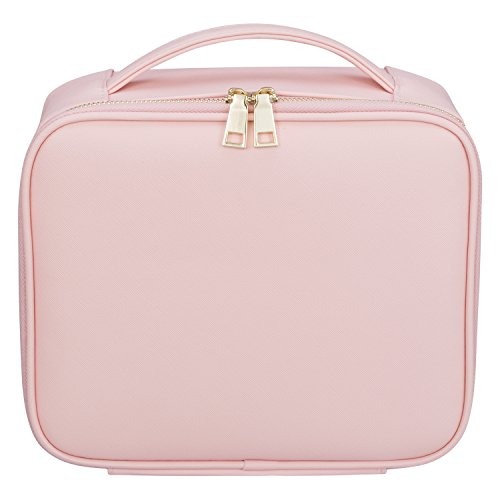 "Ollieroo Makeup Train Case Professional 9.8"" Travel Makeup Cosmetic Artist Organizer with Adjustable Dividers Pink"