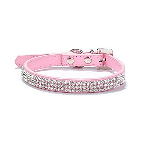 Wild Wild Pet S Size Pet Dog Cat FAUX Leather Collar With Rhinestone Pink