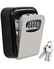 ValueHall KeyLockBox Wall Mounted Combination Key Safe Storage Zinc Alloy Lock Box with Slide Cover Lock Box for House Key 4 Digit Combination with Mounting Kit for Hotel Home Garage School V8168