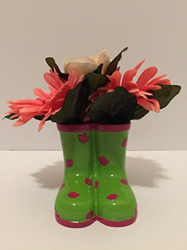 (BOOTS - CERAMIC GREEN AND PINK RAIN BOOTS VASE - PINK WITH GLITTER CENTER GERBER DAISIES AND CREAM)