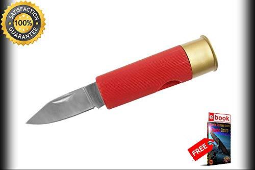 FOLDING POCKET Sharp KNIFE Red 12 Gauge Shotgun Shell Bullet Novelty Folder 210909-1 Combat Tactical Knife + eBOOK by Moon Knives 12 Gauge Shotgun Shell Knife