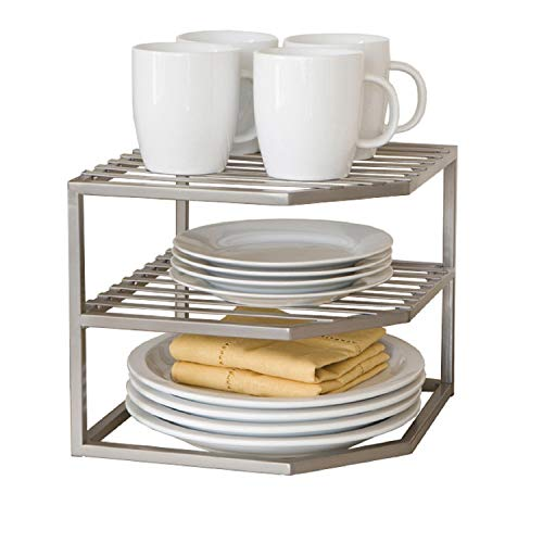 Seville Classics 2-Tier Corner Shelf Counter and Cabinet Organizer, Platinum (Organizer Cabinet Plate)