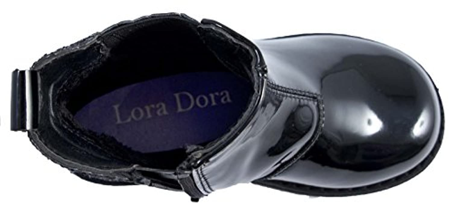 Lora Dora Girls Faux Patent Leather Chelsea Ankle Boots Glitter Party Shoes Size UK 6-12