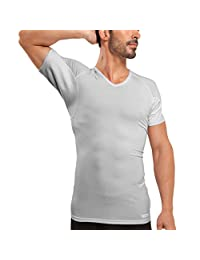 Ejis Sweat Proof Undershirts with Sweat Pads and Silver, Micro Modal V Neck