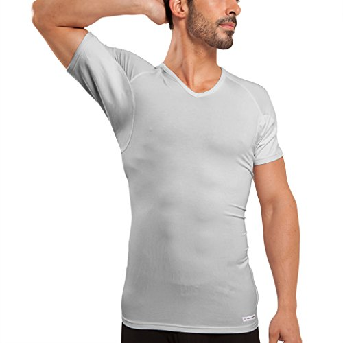 Ejis Men's Sweat Proof Undershirt, V Neck, Anti-Odor Silver, Micro Modal, Sweat Pads (XXX-Large, Grey)