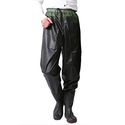 (Hiyoli Fishing Boot Fishing Hunting PVC Waterproof Waders Waist Waders Hip Waders Black - Size:9.5)