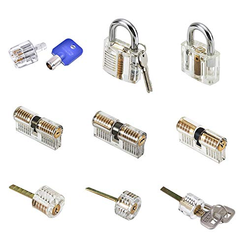 Practice Lock Set 9 pcs Transparent Locks