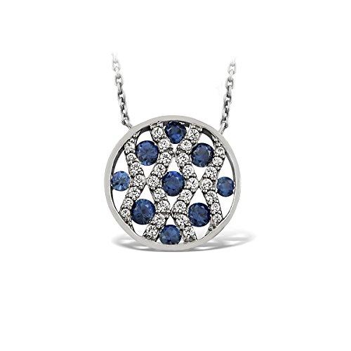 Tousmesbijoux Collier en Or blanc 375 pavé de diamants et saphirs