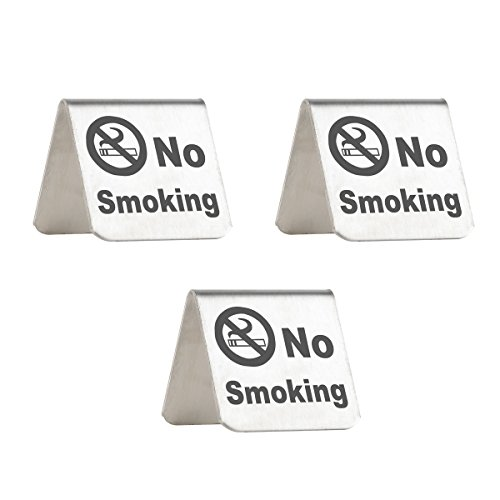ushed Stainless Steel Free Standing Table Top Tent Compliance Signs - Double Sided - 2 By 2 Inch - Set of 3 ()