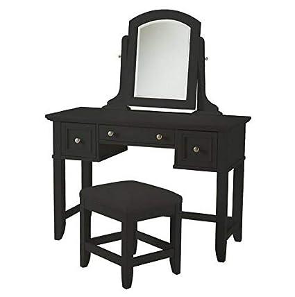 Amazon.com: Hebel Bedford Bedroom Vanity Table - Black ...