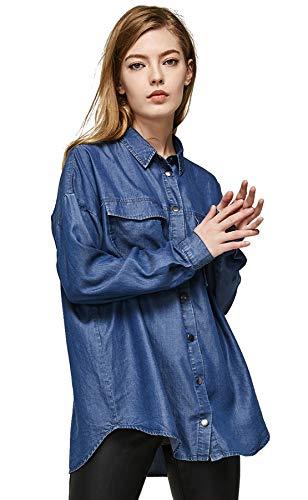 (Escalier Women's Denim Shirt Chambray Tencel Long Sleeve Button Down Blouse Blue S)