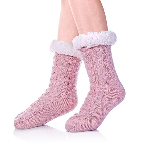 SDBING Women's Winter Super Soft Warm Cozy Fuzzy Fleece-lined Christmas Gift With Grippers Slipper Socks (Light Pink)