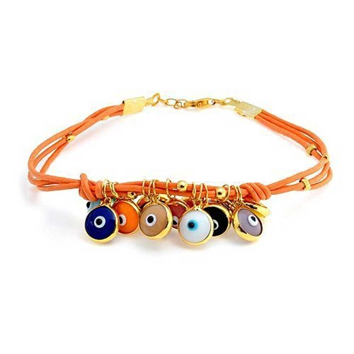 Turkish Dangle Charm Boho Genuine Orange Leather Evil Eye Bracelet For Teen For Women 14K Gold Plate 925 Sterling ()
