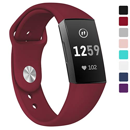 Hamile Bands Compatible for Fitbit Charge 3, Soft Silicone Watch Strap Replacement Band Wristband for Fitbit Charge 3 & Charge 3 SE, Women Men, Small, Red