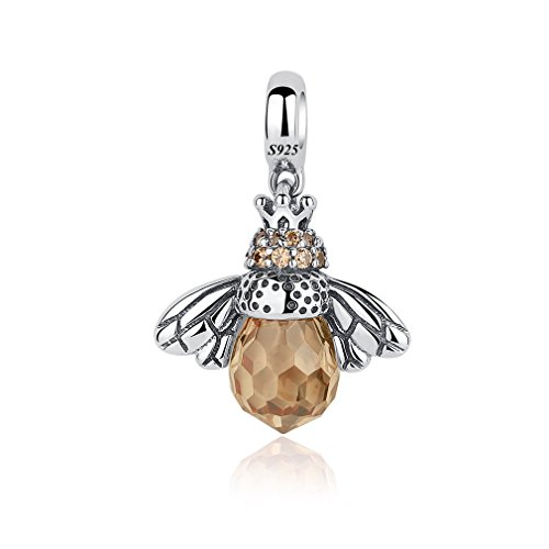 Charm 925 Silver Sterling Crystal - LeeFeel S925 Honey Bee Dangle Charms 925 Sterling Silver Brown Crystal CZ Dangle Charms Fit Charm Bracelet & Choker Necklace