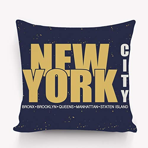 YILINGER Pillow Covers Decorative Pillowcase Cushion Covers with Zipper 18x18 Inches New York NYC Design Clothes Print Vintage Apparel Typography -