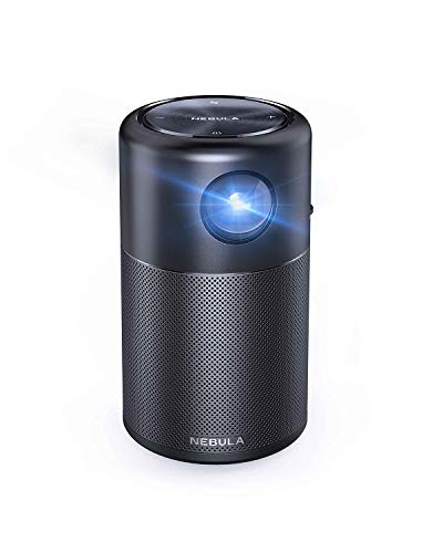 Nebula Capsule, by Anker, Smart Wi-Fi Mini Projector, Black, 100 ANSI Lumen Portable Projector, 360° Speaker, Movie Projector, 100 Inch Picture, 4-Hour Video Playtime, Outdoor Projector-Watch Anywhere