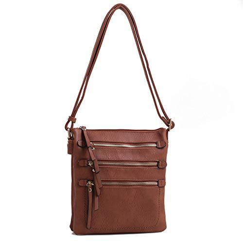 Mya M Signature Premium Crossover Cross Body Bag Over the Shoulder Luxury Womens Purses and Handbags by Mia K Farrow (Brown ()