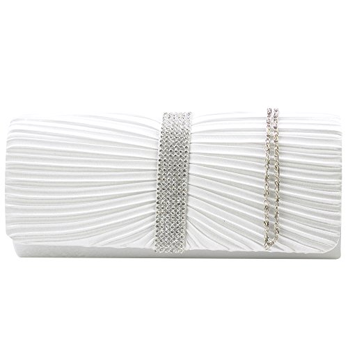 LADIES Satin SPARKLY WEDDING Elegant White TM NEW Wocharm BAG CLUTCH PROM PARTY DIAMANTE EVENING BRIDAL BRAND Crystal WOMENS Sxq64Fw