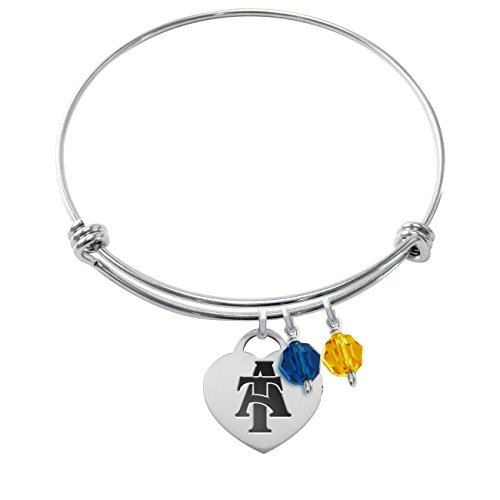 - North Carolina A&T Aggies Stainless Steel Adjustable Bangle Bracelet with Heart Charm & Crystal Accents