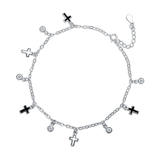 (JiangXin Platinum Plated 925 Sterling Silver Anklet for Women Round sparkling CZ and Black White Cross Epoxy Charms 20+4cm)