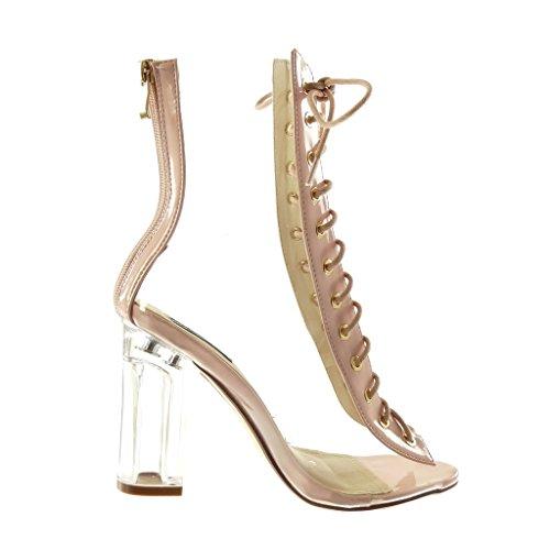 Angkorly Damen Schuhe Stiefeletten Pumpe - Hohe - Peep-Toe - Spitze - Transparent Blockabsatz High Heel 10 cm Hellrosa