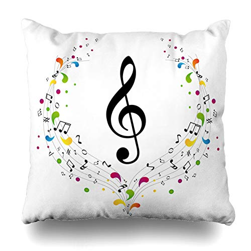 (Ahawoso Throw Pillow Cover Square 22x22 Clef Abstract Music Treble Notes Curve Bass Sound Black Chord Color Staff Zippered Cushion Pillow Case Home Decor Pillowcase )