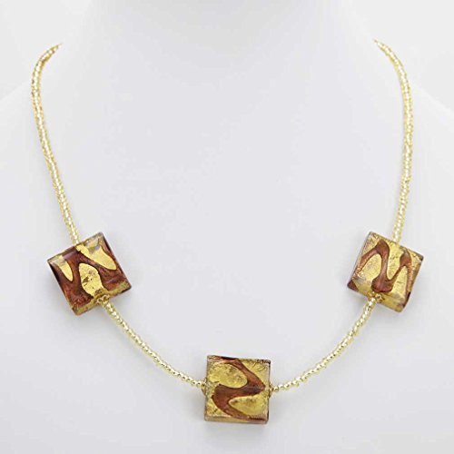 GlassOfVenice Murano Glass Royal Amethyst Squares Necklace