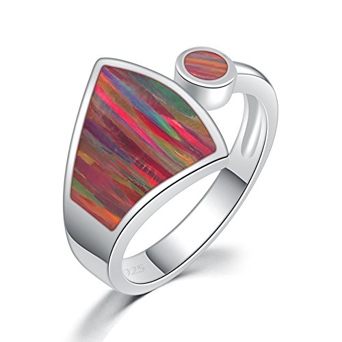 (CiNily Silver Orange Fire Opal Women Jewelry Gemstone Ring Size 6-10 (6))