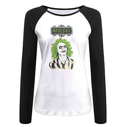 AIJFW Beetlejuice Women's Crewneck Reglan Sleeve T-shirt XL (Beetlejuice Wigs)