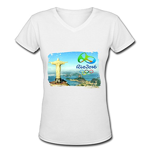 Women's White V Neck T Shirt Rio 2016 Summer Olympic Games Poster