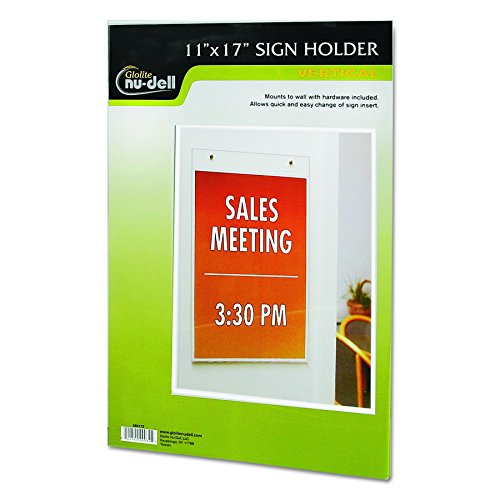 NuDell 38017Z Clear Plastic Sign Holder, Wall Mount, 11 x 17 (Holders Sign Wall Acrylic)