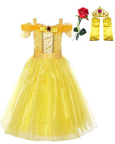[Yanekop Girls Yellow Princess Belle Dress Up Set Beauty and the Beast Costume (Style 1,120cm)] (Belle Toddler Gloves)
