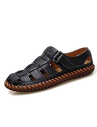 Qiucdzi Men's Leather Sandals Breathable Closed Toe Beach Shoes Soft Non Slip Outdoor Fishermen Sandals
