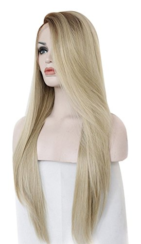 Alacos Fashion Natural Long Straight Lace Front Wig Two T...