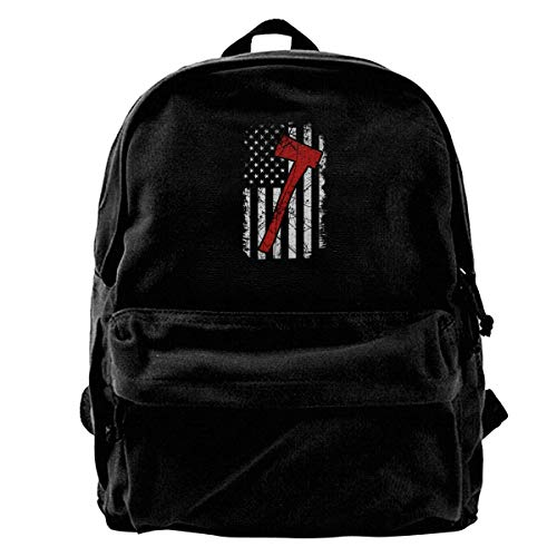 Flag Durable Travel Ax Shoulder Canvas Bag Backpack Men's Usa Sd4r5y3hg Blcak qzXCfC