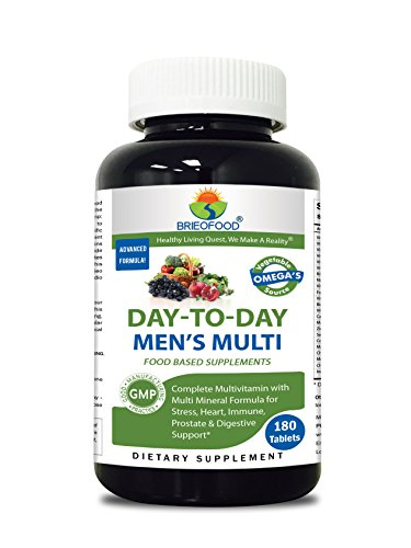 Multivitamin 180 Tabs - Brieofood Mens Multivitamin 180 Tablets, Food Based daily Multivitamin for men made with Vegetable Source Omegas, probiotics and herbal blends