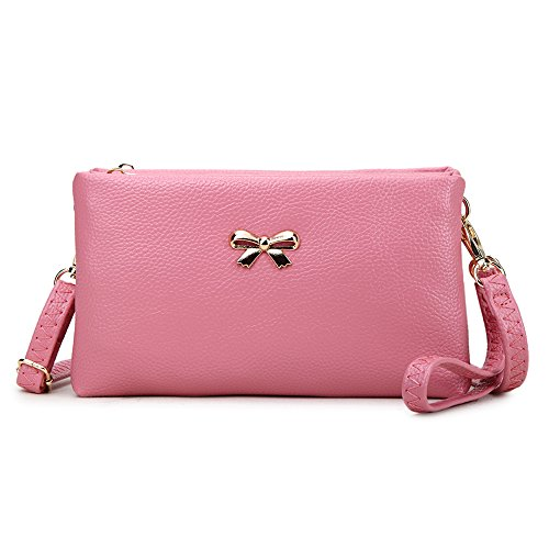 knot with Strap DarkPink Clutch Wallet Baguette Phone Wristlets Adjustable Strap Purse Evening Long Detachable 2 Decorated Small Wrist Shouler Party Bow Womens Bag and compartments LS q4STqZ