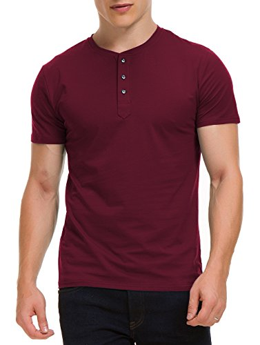 Boisouey Men's Casual Slim Fit Short Sleeve Henley T-Shirts Cotton Shirts Red L ()