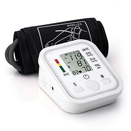Automatic Arm Blood Pressure Monitor - Upper Blood Pressure Cuff with LCD Display - BP Monitor, BP Cuff for Detecting Irregular Heartbeat - Includes Intelligent Voice Function
