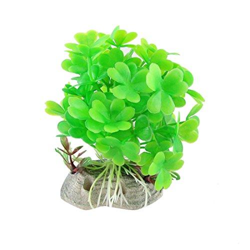 UPC 610256147741, Uxcell Plastic Aquarium Landscaping Ceramic Base Clover Leaf Plants, Green
