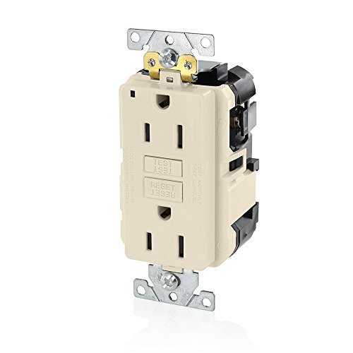 Leviton MGFN1-T Lev-Lok Modular Wiring Device 15A-125V Extra-Heavy Duty Industrial Grade Non-Tamper-Resistant Duplex Self-Test GFCI Receptacle, Light Almond ()
