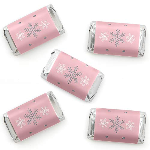 Pink Winter Wonderland - Mini Candy Bar Wrapper Stickers - Holiday Snowflake Birthday Party and Baby Shower Small Favors - 40 Count -