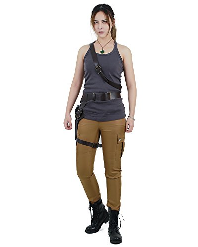 miccostumes Women's Lara Croft Cosplay Costume Vest with Belts Set (Women s) Grey,Brown]()