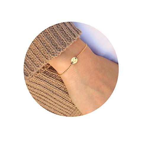 MOMOL Initial Charm Bracelets, 18K Gold Plated Stainless Steel Dainty Small Round Coin Disc Initial Bracelet Engraved Letter C Personalized Name Bracelet for Women Girls Kids (C) (Women Mini Stainless Steel Bracelet)