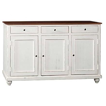 Credenza legno shabby white. Credenza in legno massello con top ...