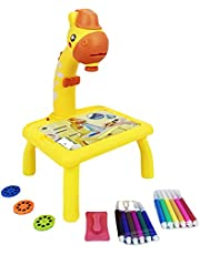 HEVIRGO Projector Painting Set for Kids, Projection Drawing Desk,Projection Drawing Board, Doddle Drawing Desk,Projection Drawing Board, Kids Projector Table Toys Giraffe Design for 3+School Yellow