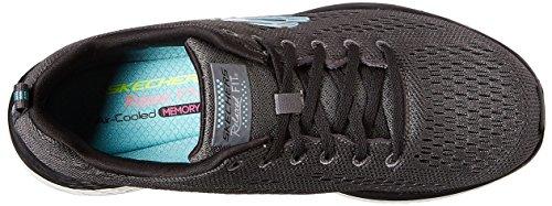 Chaussures Running Pass de Skechers Valeris Back Stage Gris Noir Noir Compétition Femme tIX7xYwx